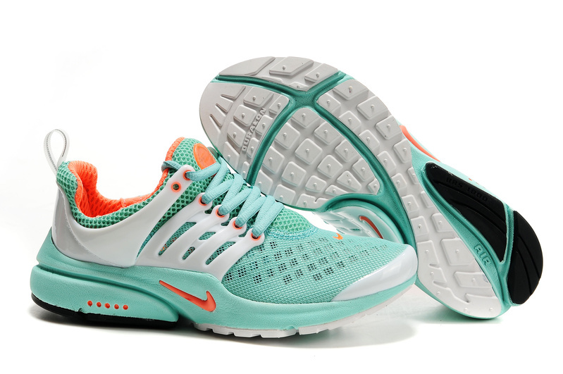 Women Nike Air Presto 2 Carve Light Green White Orange Shoes With Holes