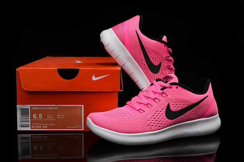 Women Nike Flyknit RN Peach Black White Running Shoes