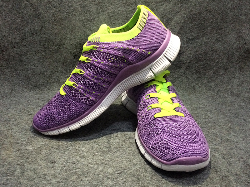 Women Nike Free Flyknit 5.0 Purple Fluorscent Green White Shoes