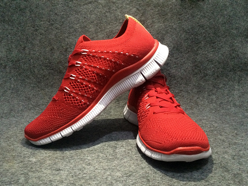 Women Nike Free Flyknit 5.0 Red White Shoes