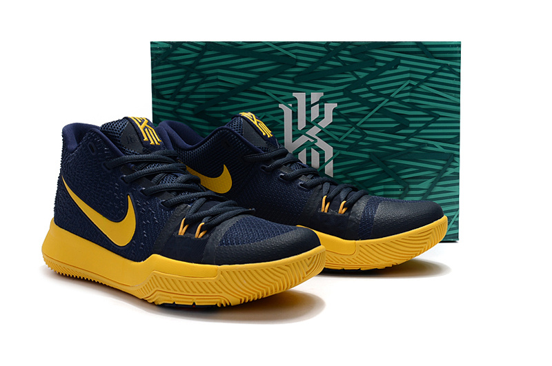 low cost 8a3aa 1e5b1 ... Women Nike Kyrie 3 Deep Blue Yellow Basketball Shoes ...