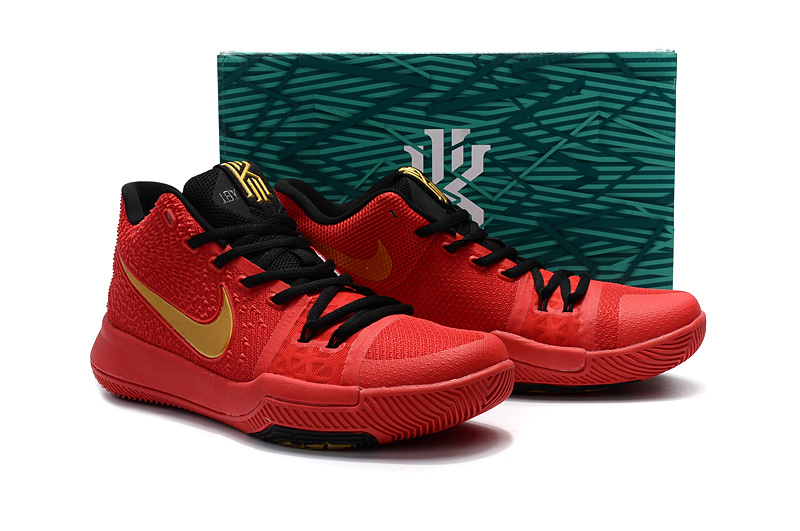 Women Nike Kyrie 3 Red Black Gold Basketball Shoes