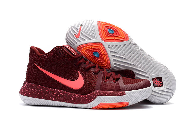 Women Nike Kyrie 3 Wine Red White Basketball Shoes
