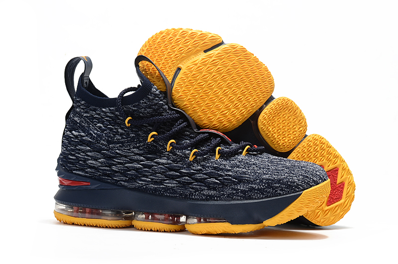 Women Nike Lebron 15 Deep Blue Yellow Red Shoes