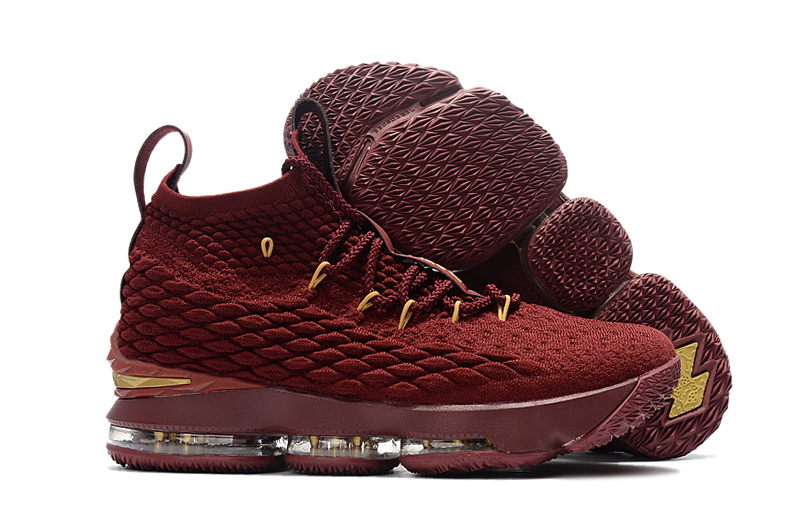 Women Nike Lebron 15 Wine Red Yellow Shoes