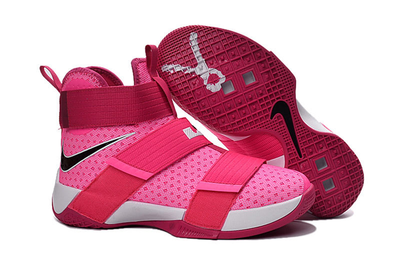 Women Nike Lebron Soldier 10 Breast Cancer Pink White Shoes