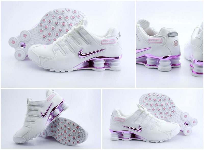 Women Nike Shox NZ White Pink Logo Shoes