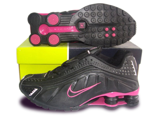 Womens Nike Shox R4 Shoes Black Pink