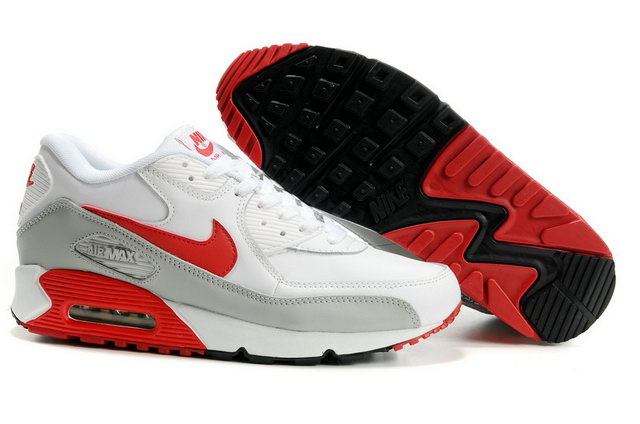 Womens Nike Air Max 90 Premium Shoes White Red Grey