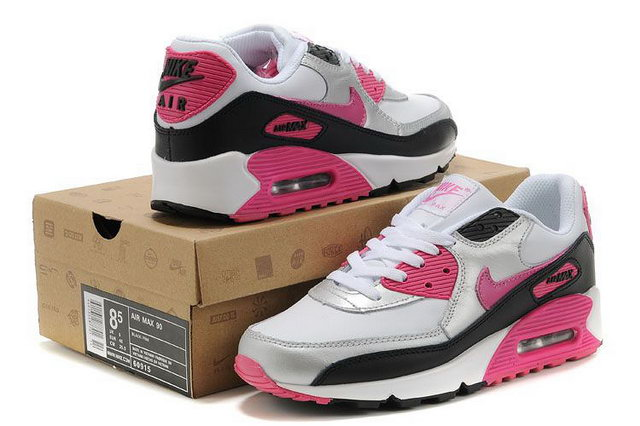 Womens Nike Air Max 90 White Black Pink Silver Shoes