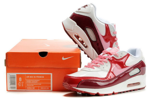 Womens Nike Air Max 90 White Laser Pink Varsity Red Team Red