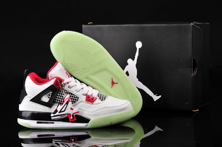Nike Jordan 4 Midnigh White Black Red Shoes For Women