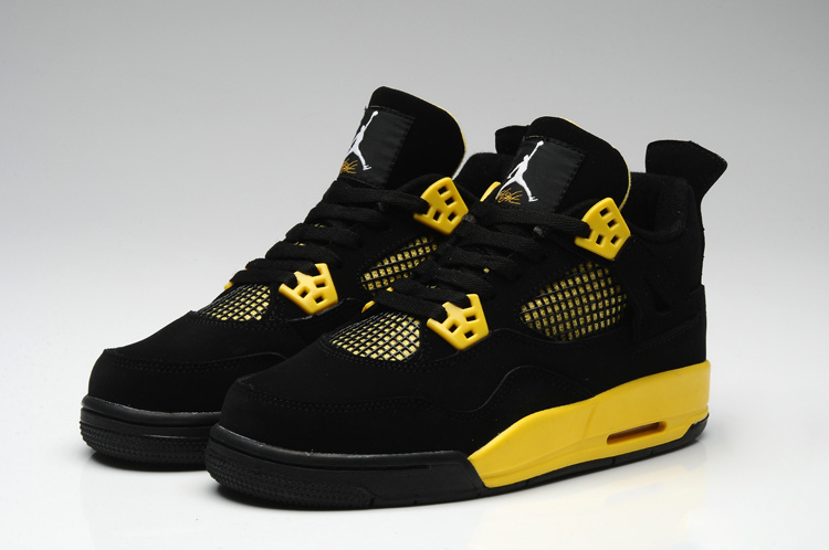 Nike Thor Jordan 4 Shoes For Women Black Yellow