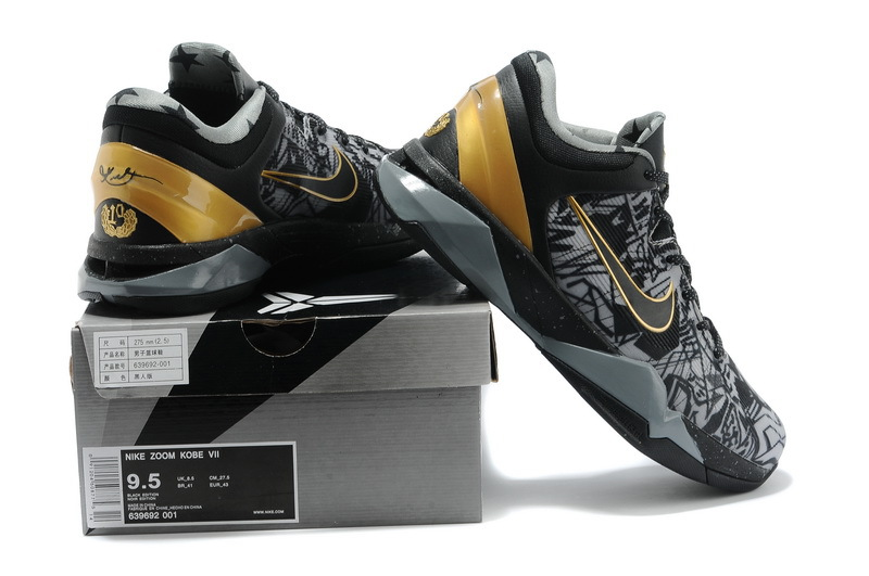 Zoom Kobe 7 Prelude PACK Black Grey Gold Basketball Shoes